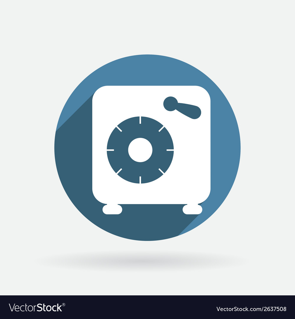 Bank vault circle blue icon with shadow vector | Price: 1 Credit (USD $1)
