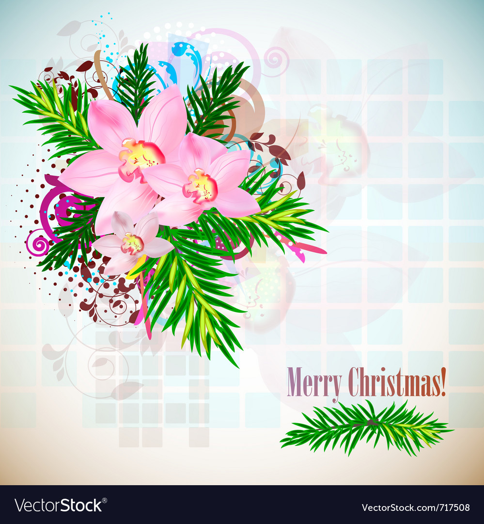 Elegant christmas background with orchids vintage vector | Price: 1 Credit (USD $1)