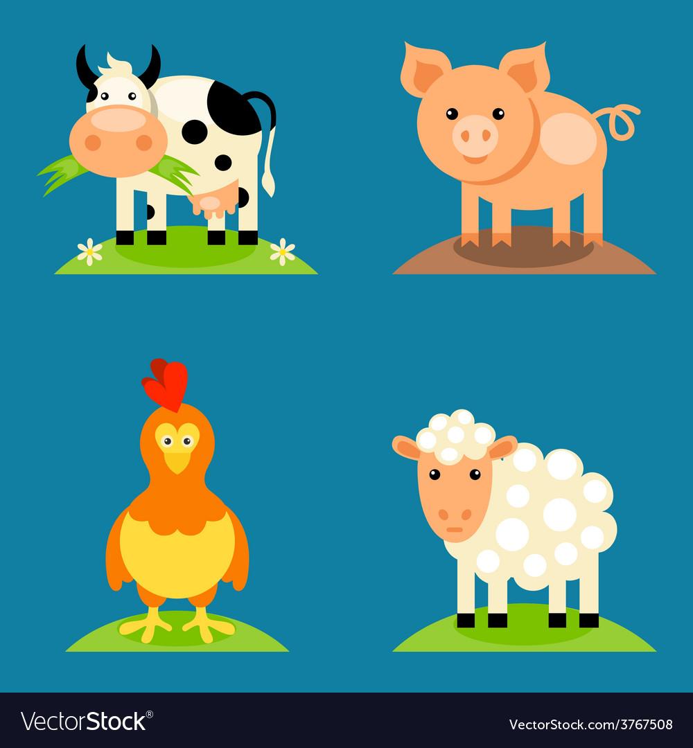 Farm animals set vector | Price: 1 Credit (USD $1)