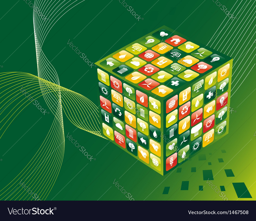 Green environment apps cube background vector | Price: 1 Credit (USD $1)