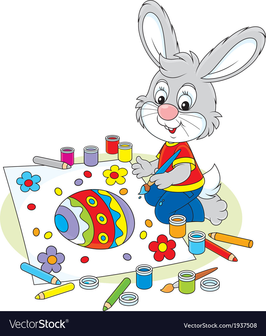 Little bunny draws an easter card vector | Price: 1 Credit (USD $1)
