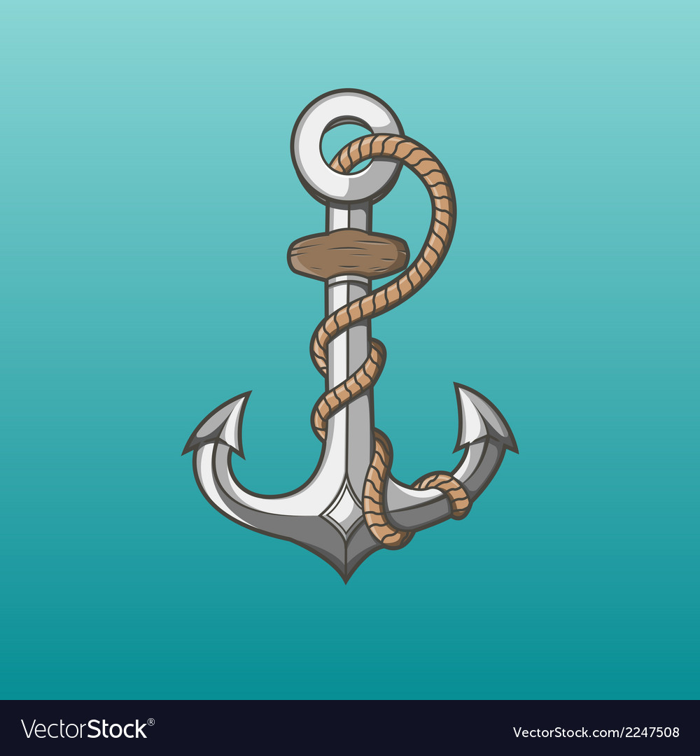 Nautical anchor with rope vector | Price: 1 Credit (USD $1)