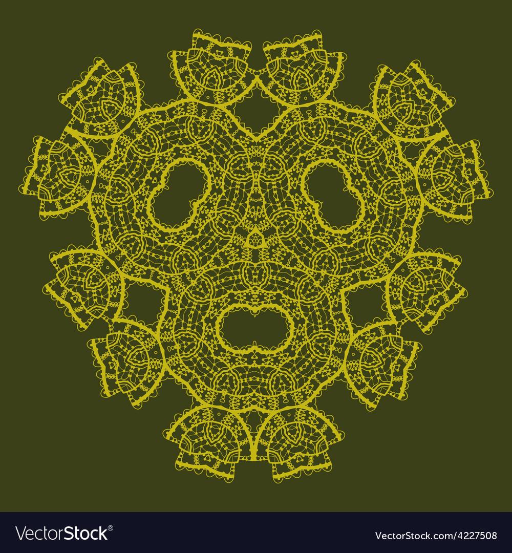 Oriental ornamental triangle mandala of green vector | Price: 1 Credit (USD $1)