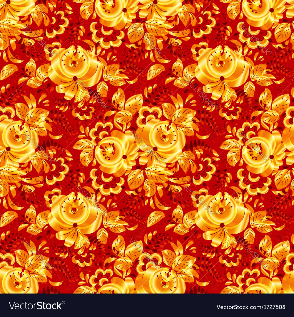 Red textile seamless pattern with golden flowers vector | Price: 1 Credit (USD $1)