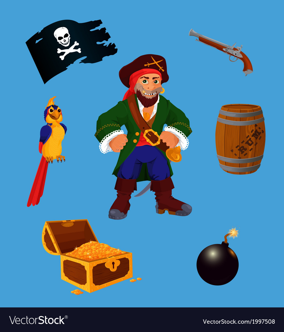 Set of pirate design elements vector | Price: 1 Credit (USD $1)