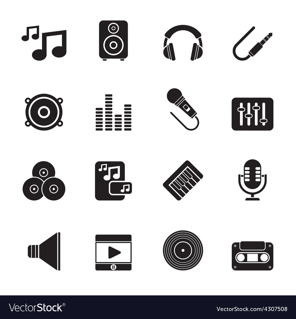 Silhouette music sound and audio icons vector | Price: 1 Credit (USD $1)
