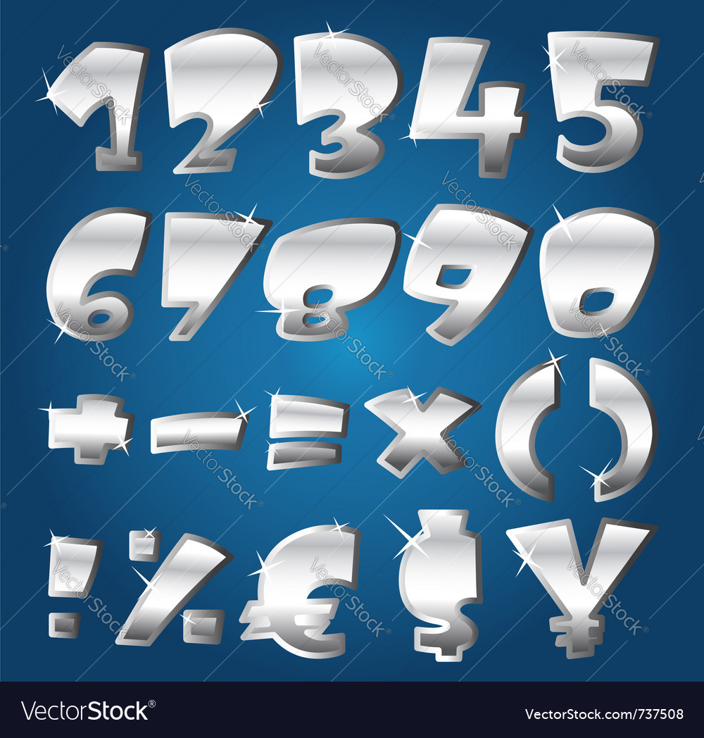 Silver numbers vector | Price: 1 Credit (USD $1)