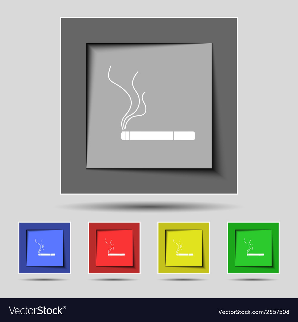 Smoking sign icon cigarette symbol set colourful vector | Price: 1 Credit (USD $1)