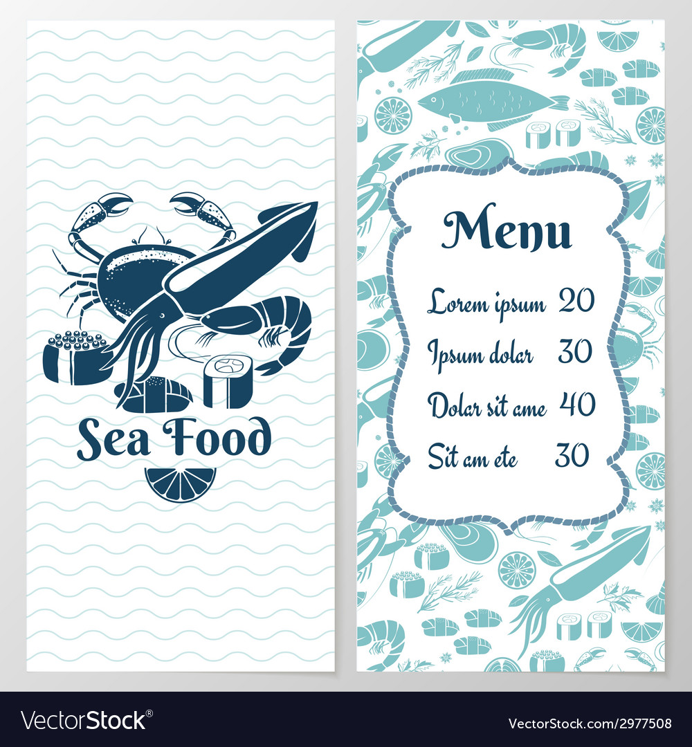 Two paged blue fish menu with graphic vector | Price: 1 Credit (USD $1)