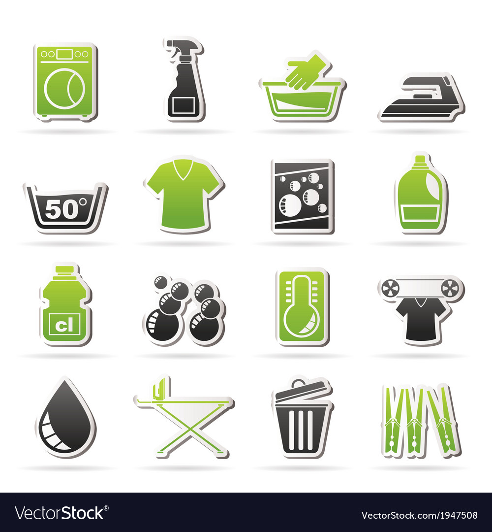 Washing machine and laundry icons vector | Price: 1 Credit (USD $1)