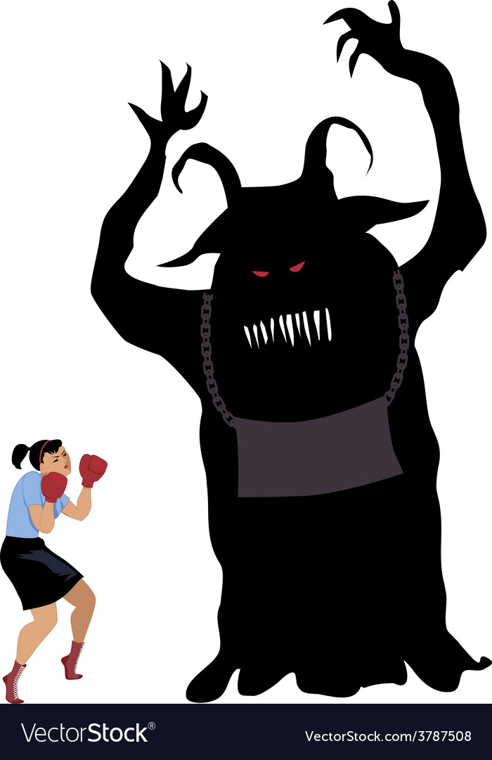 Woman fighting a monster vector | Price: 1 Credit (USD $1)