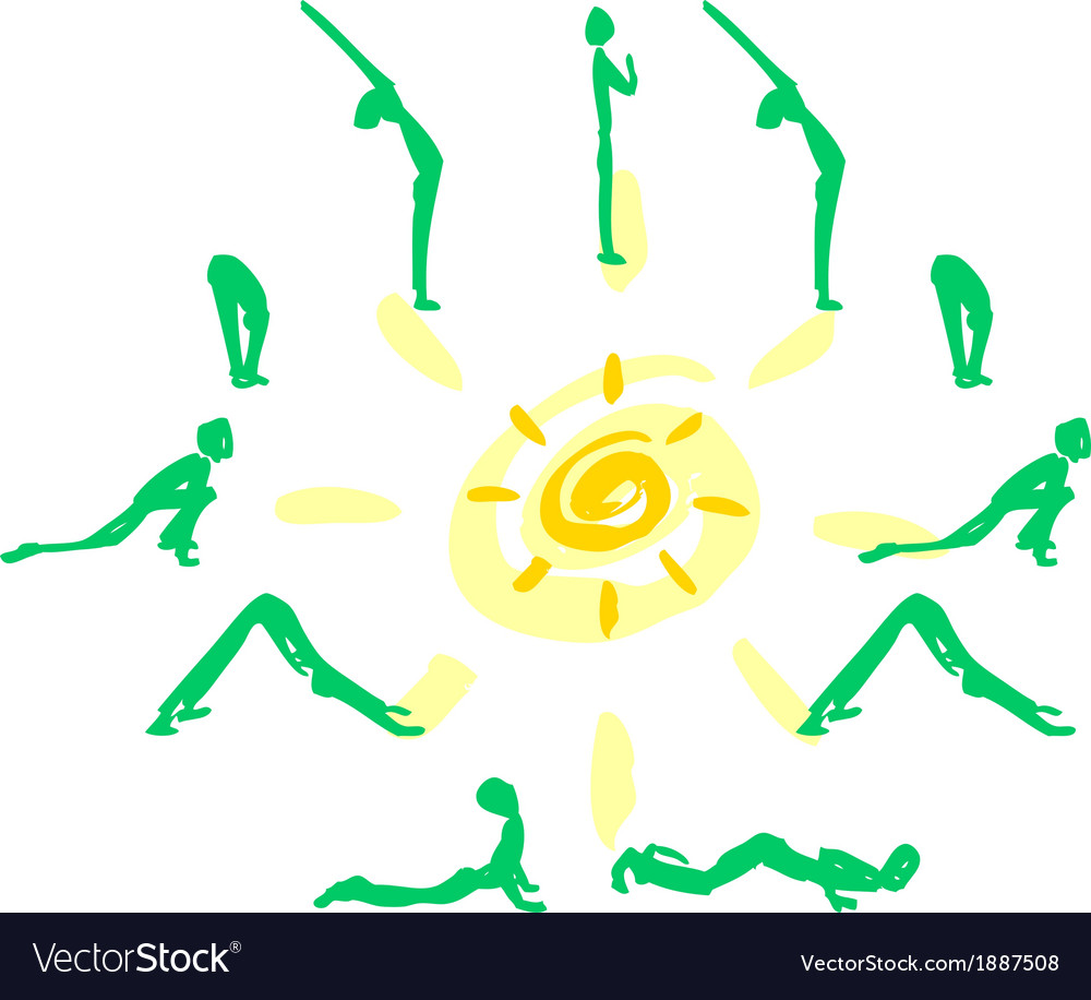 Yoga sequence sun salutation vector | Price: 1 Credit (USD $1)