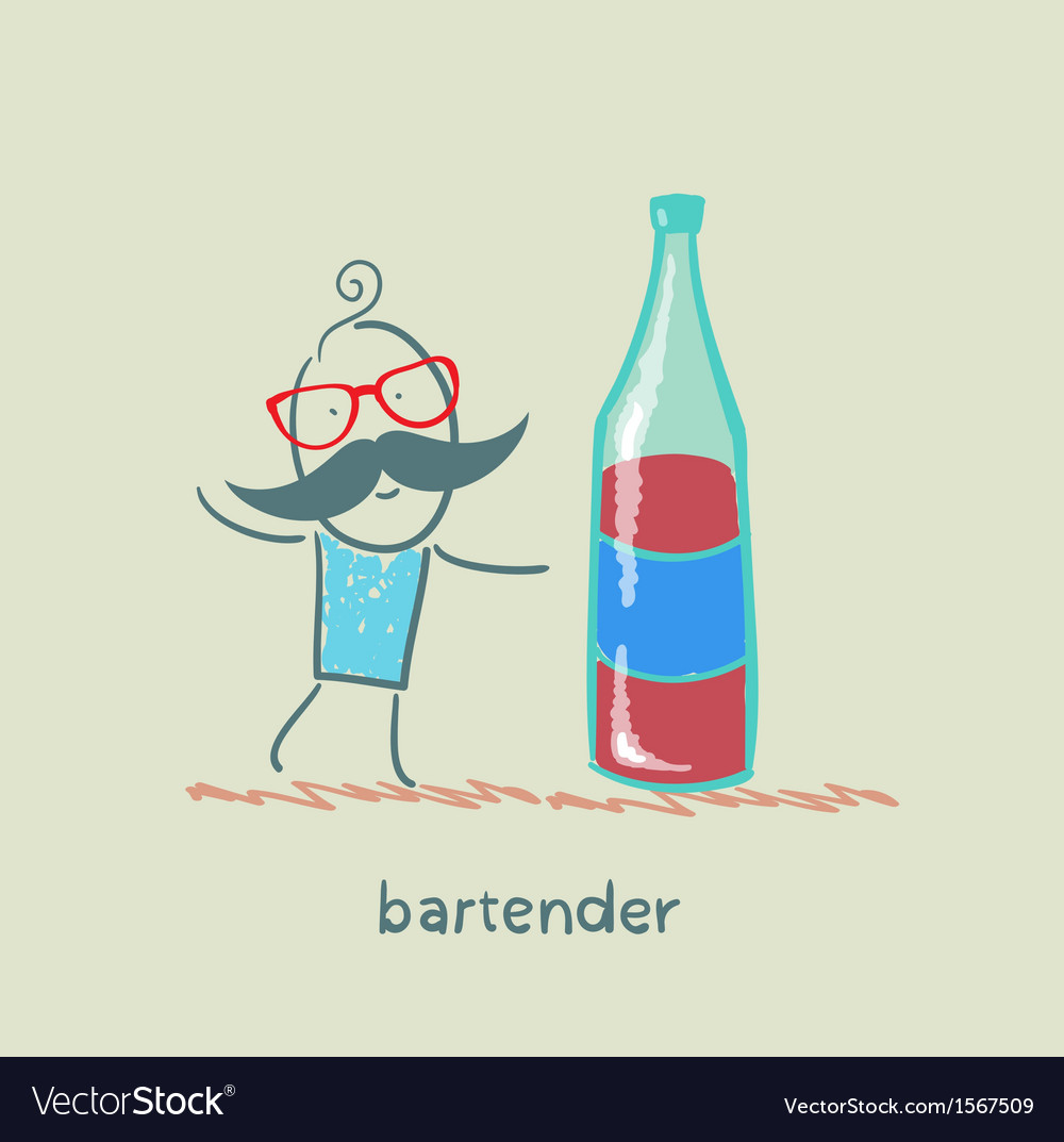 Bartender is a great bottle of wine vector | Price: 1 Credit (USD $1)