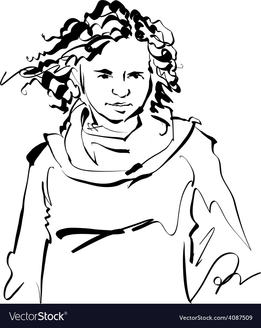 Black and white hand drawn of a woman girl with cu vector | Price: 1 Credit (USD $1)