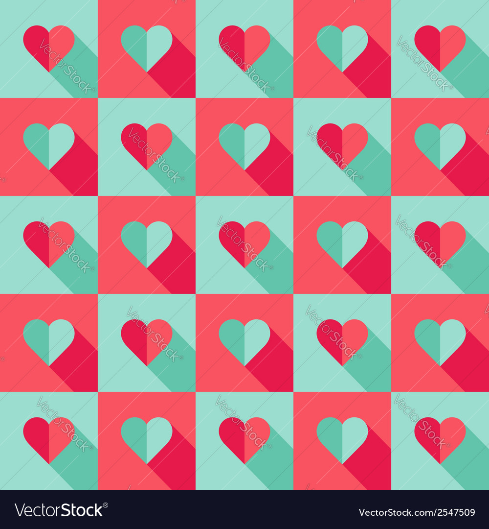 Blue and pink hearts in flat style vector | Price: 1 Credit (USD $1)