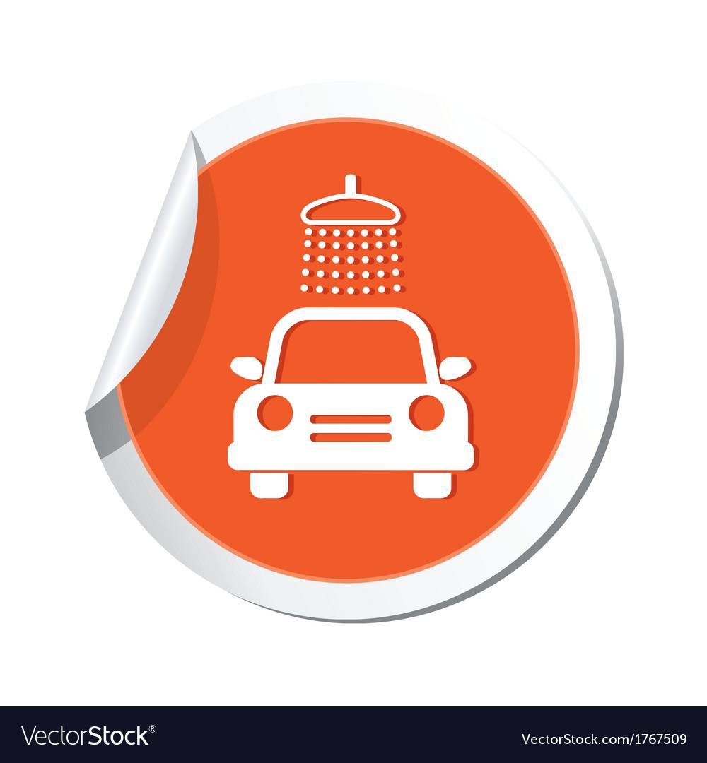 Car wash simbol orange tag vector | Price: 1 Credit (USD $1)