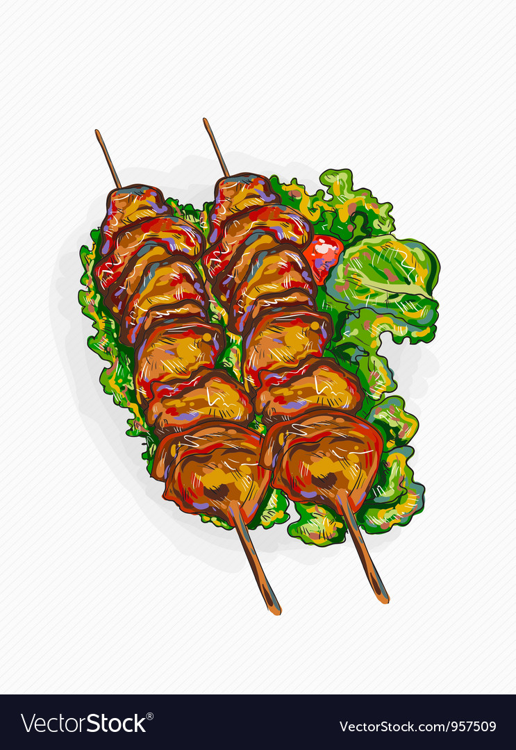 Chicken shish kebab vector | Price: 1 Credit (USD $1)