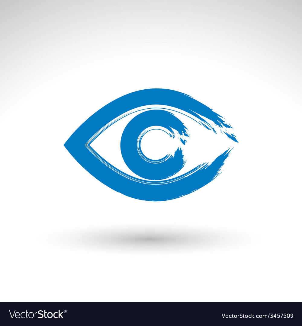 Hand drawn human eye icon brush drawing blue vector   Price: 1 Credit (USD $1)