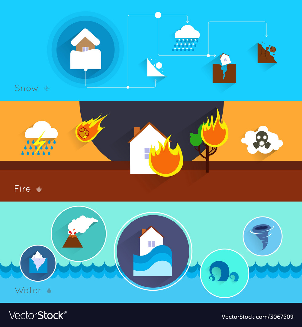 Natural disaster banners vector | Price: 1 Credit (USD $1)