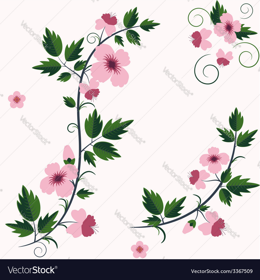 Retro floral background with flowers vector | Price: 1 Credit (USD $1)