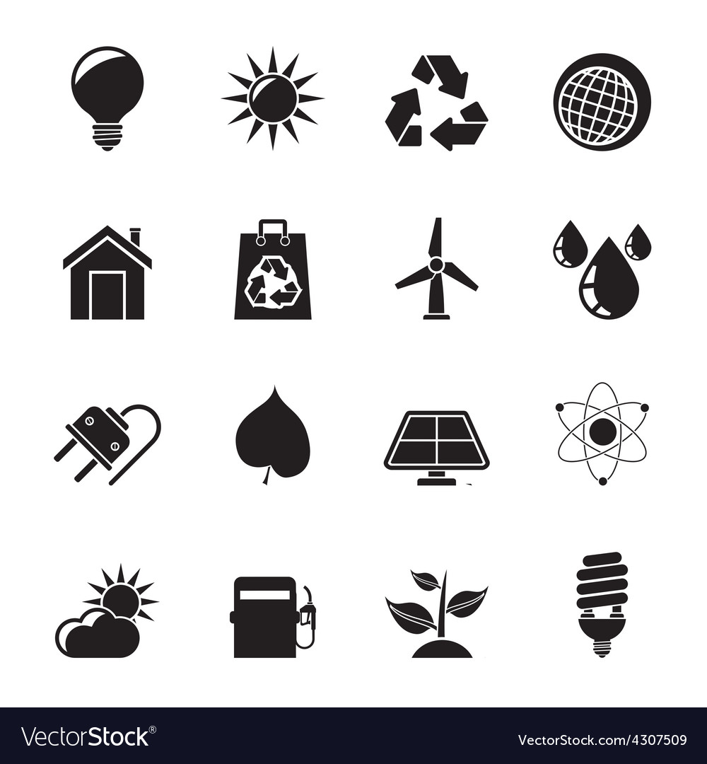 Silhouette ecology nature and environment icons vector | Price: 1 Credit (USD $1)
