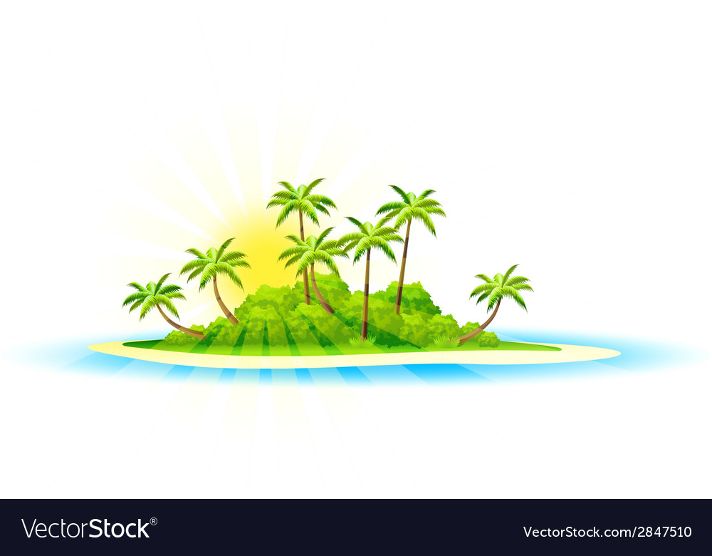 Background with tropical island and palm trees vector | Price: 1 Credit (USD $1)