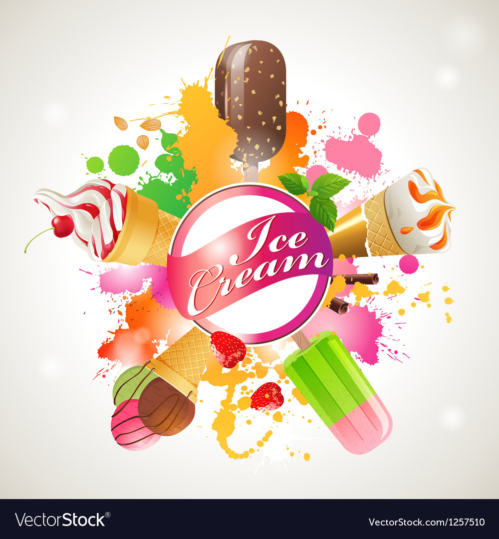 Bright background with ice cream vector | Price: 3 Credit (USD $3)