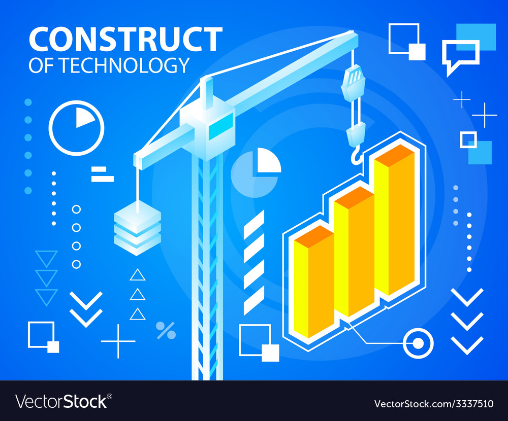 Bright construct crine and bar chart on blue vector | Price: 3 Credit (USD $3)