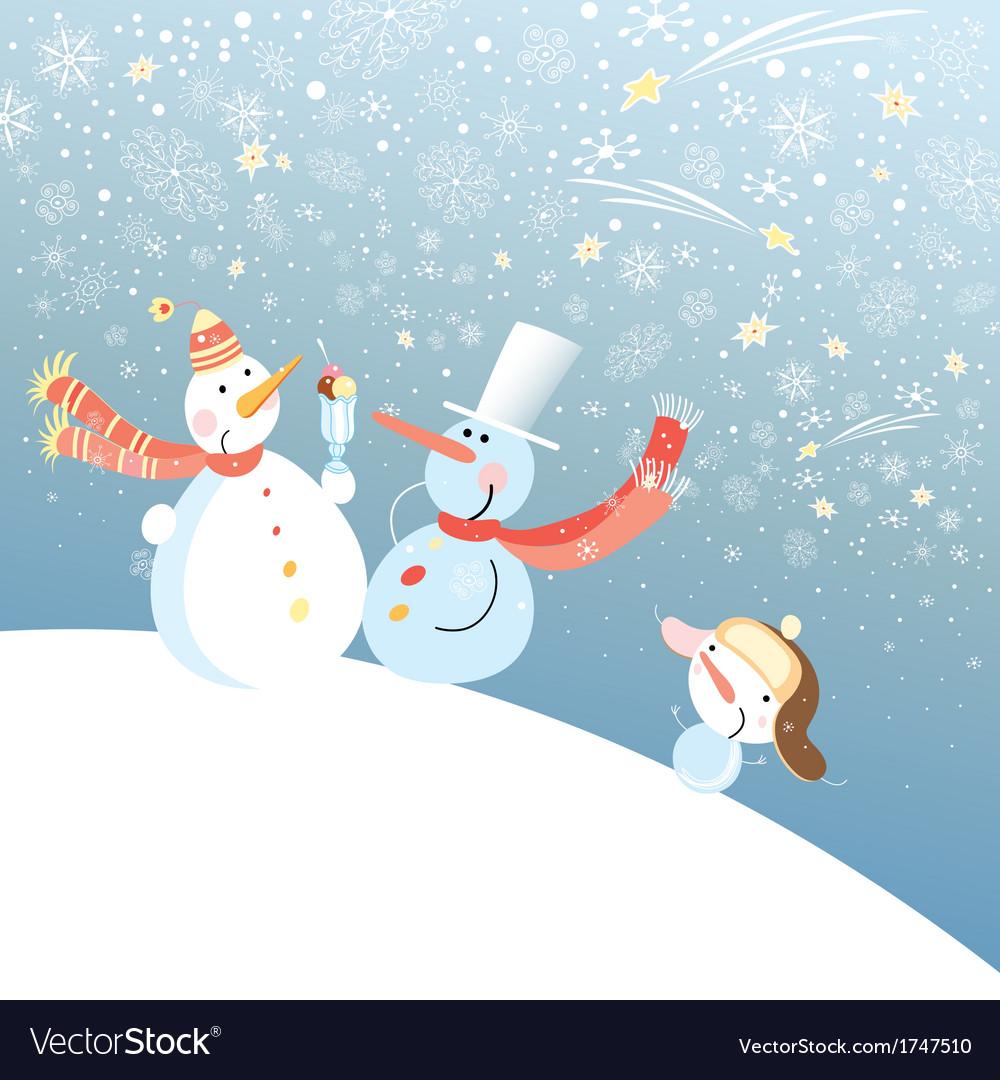 Funny snowmen vector | Price: 1 Credit (USD $1)
