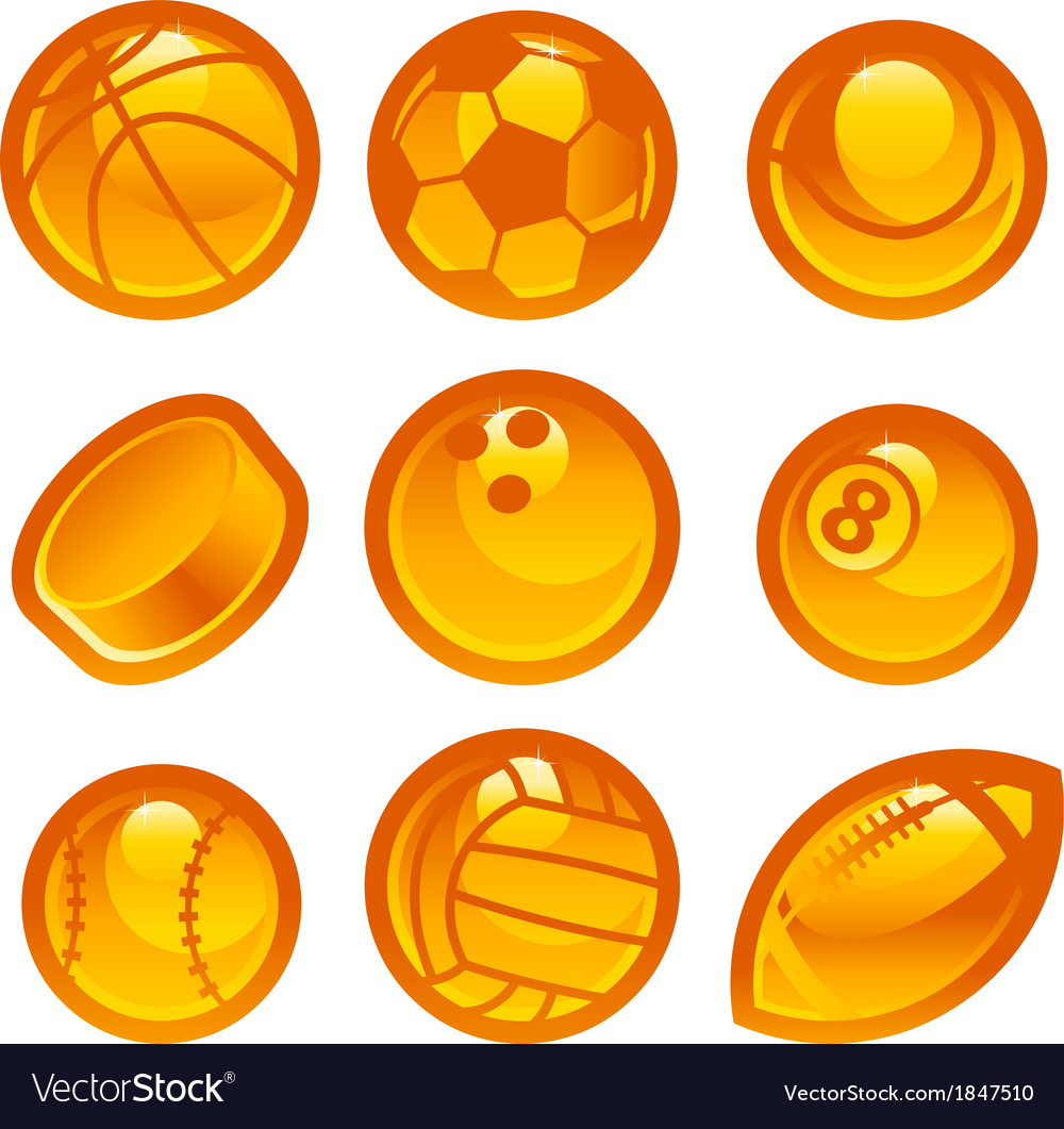 Gold sport ball icons vector | Price: 1 Credit (USD $1)