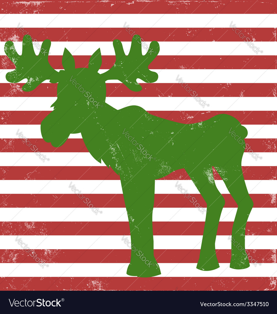 Moose greeting card vintage vector | Price: 1 Credit (USD $1)