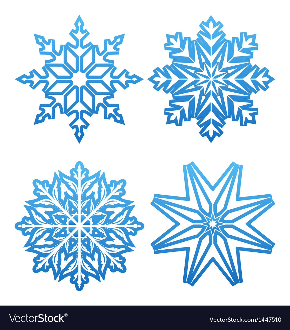 Set of variation snowflakes isolated vector | Price: 1 Credit (USD $1)