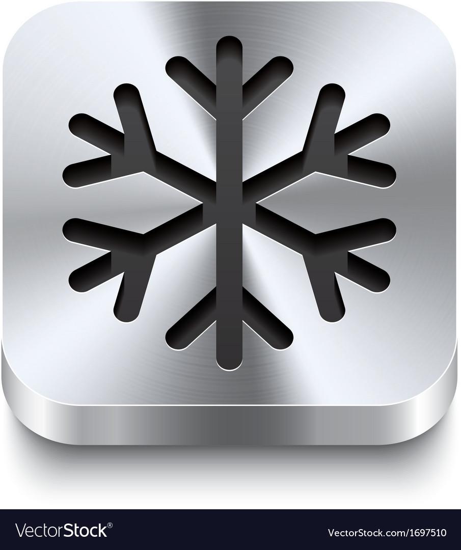 Square metal button perspektive - snowflake icon vector   Price: 1 Credit (USD $1)