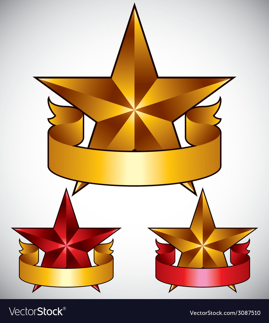 Star label with blank banner vector   Price: 1 Credit (USD $1)
