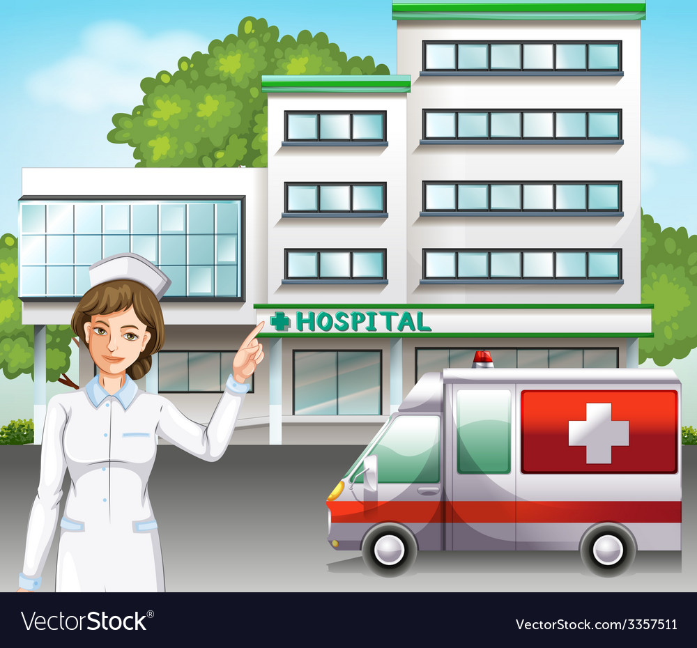 A nurse in front of the hospital vector | Price: 3 Credit (USD $3)