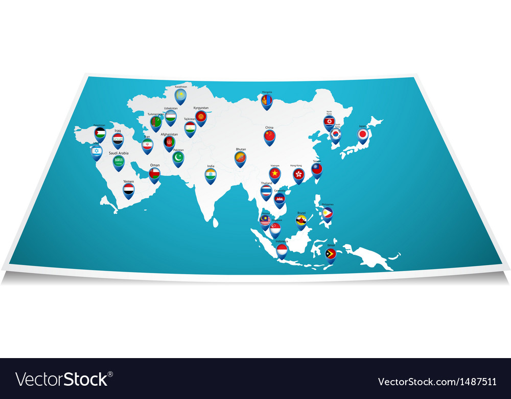 Asian map with flag pin vector | Price: 1 Credit (USD $1)