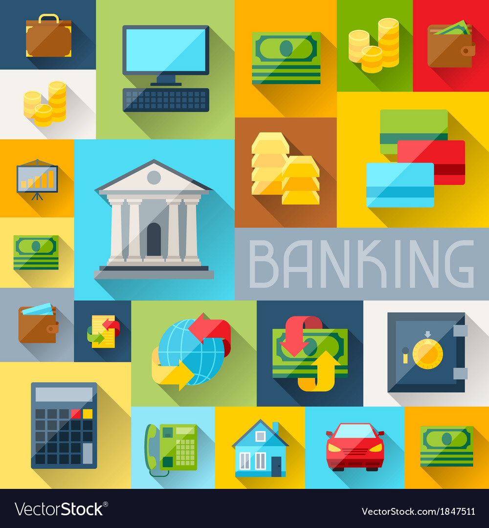 Background with banking icons in flat design style vector | Price: 1 Credit (USD $1)