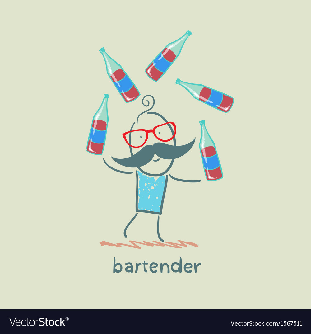 Bartender juggling bottles of wine vector | Price: 1 Credit (USD $1)