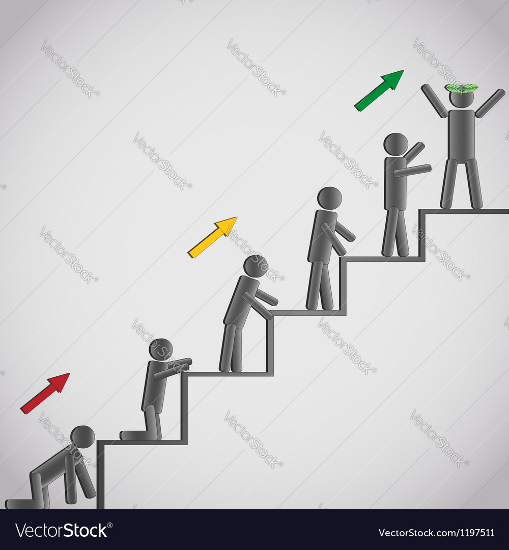 Business concept icons men on staircase vector | Price: 1 Credit (USD $1)