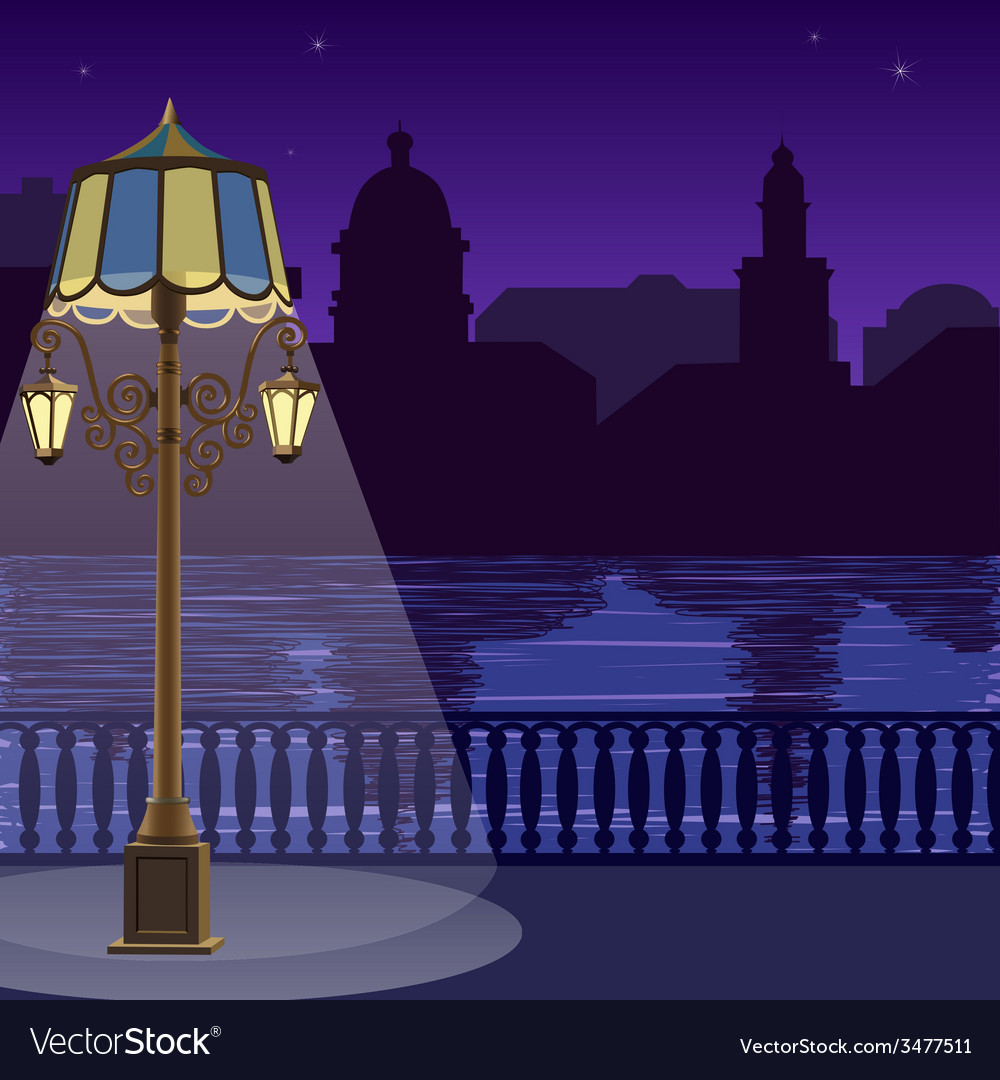 City skyline at night quay fence vector | Price: 1 Credit (USD $1)