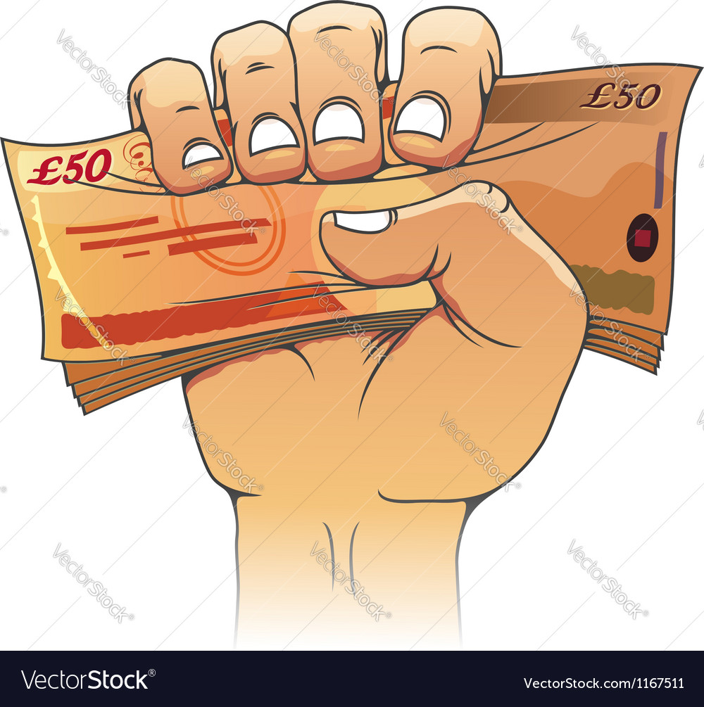 Fifty pounds banknote in hand vector | Price: 1 Credit (USD $1)
