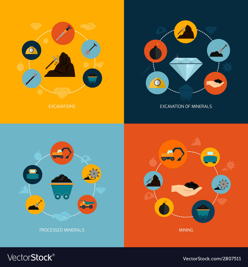 Mining icons flat composition vector | Price: 1 Credit (USD $1)
