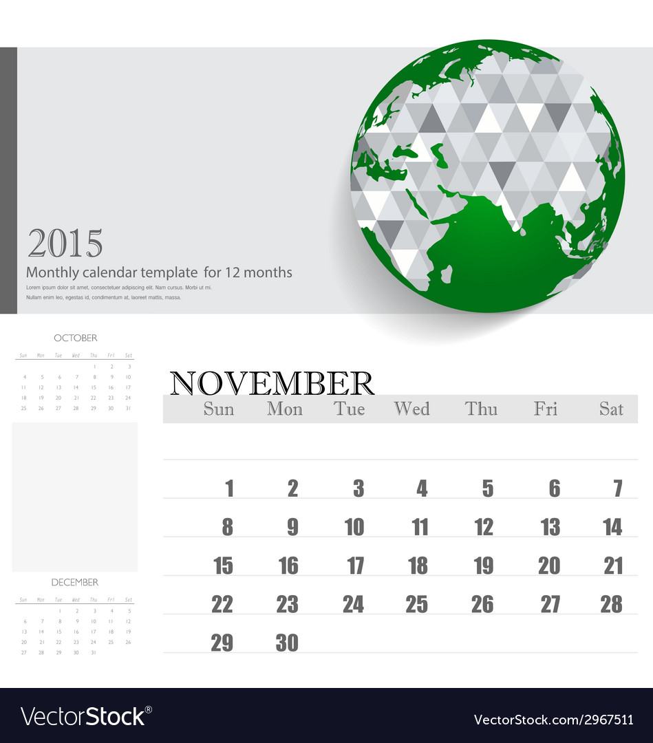 Simple 2015 calendar november vector | Price: 1 Credit (USD $1)