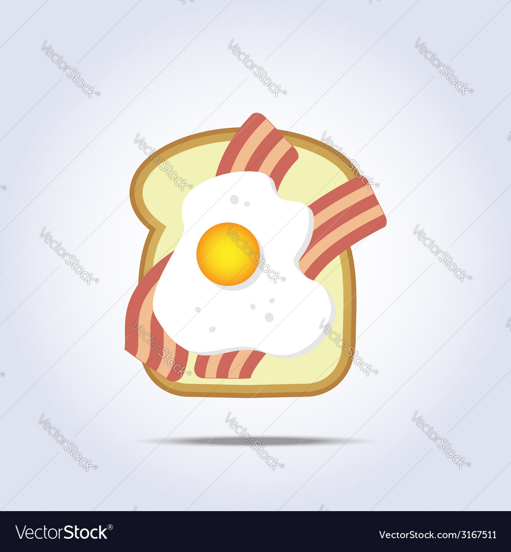 White bread toast icon with bacon and egg vector | Price: 1 Credit (USD $1)