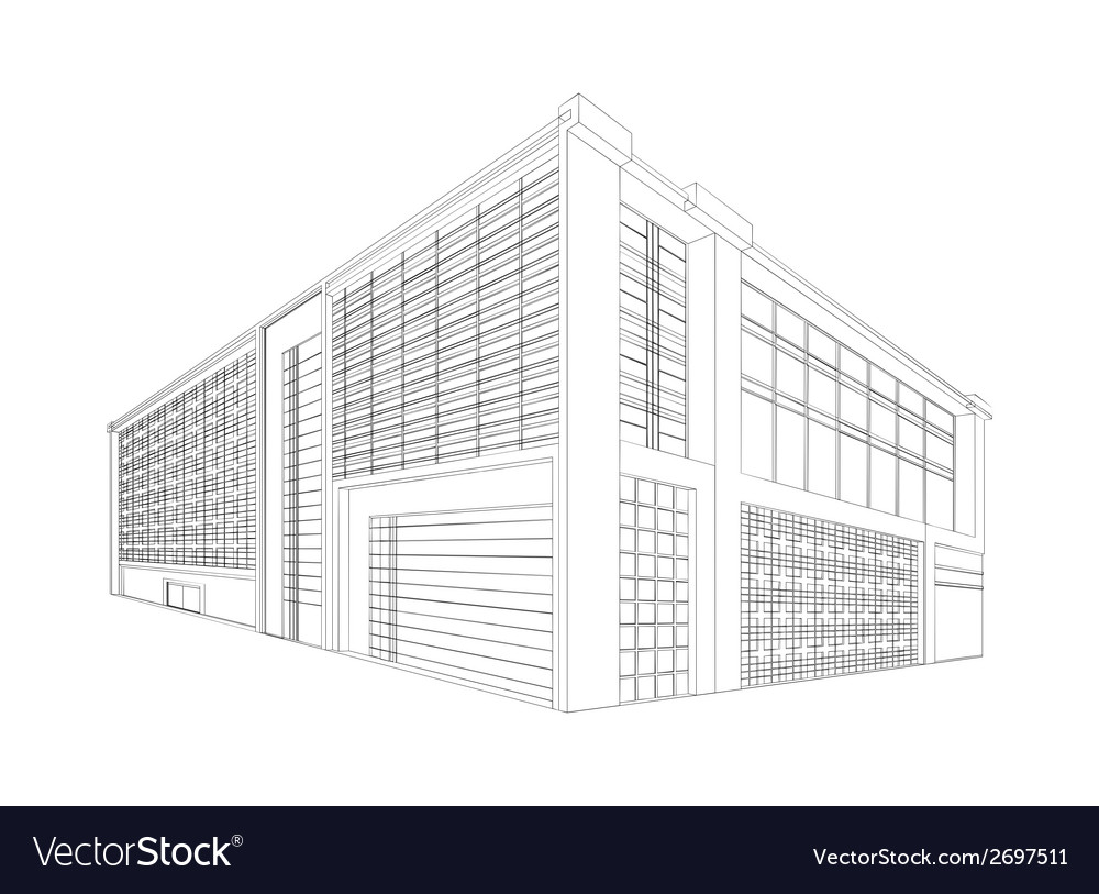 Wireframe modern building vector | Price: 1 Credit (USD $1)