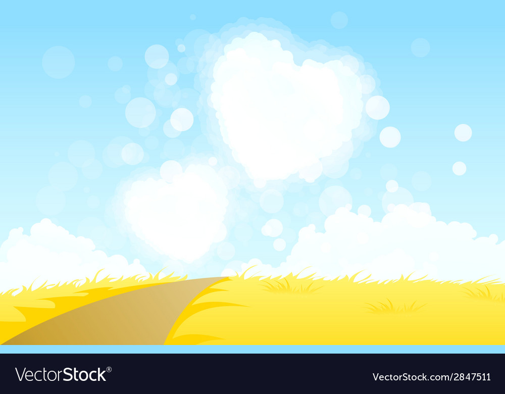 Yellow landscape with road and heart shape clouds vector | Price: 1 Credit (USD $1)