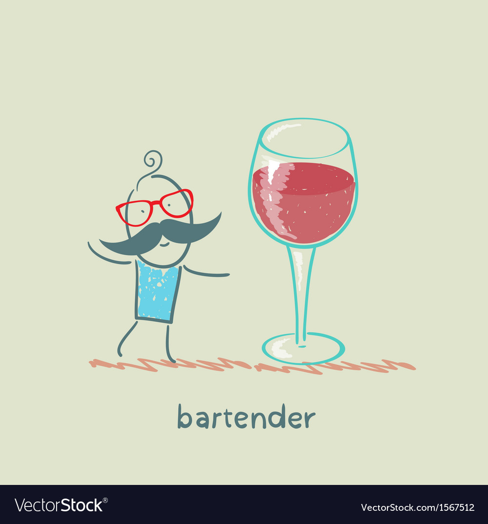 Bartender stands next to a large glass of wine vector | Price: 1 Credit (USD $1)