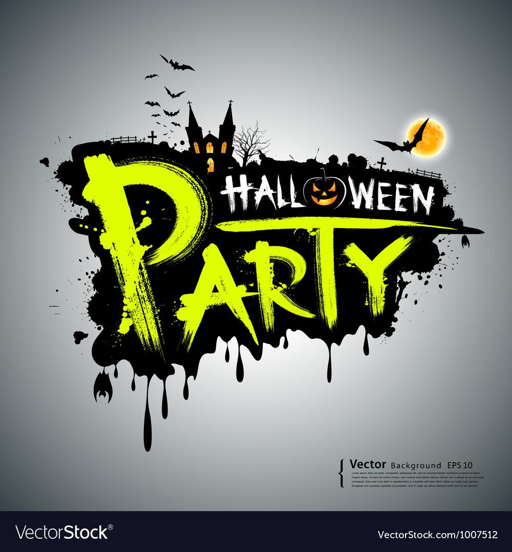 Halloween party message design vector | Price: 1 Credit (USD $1)