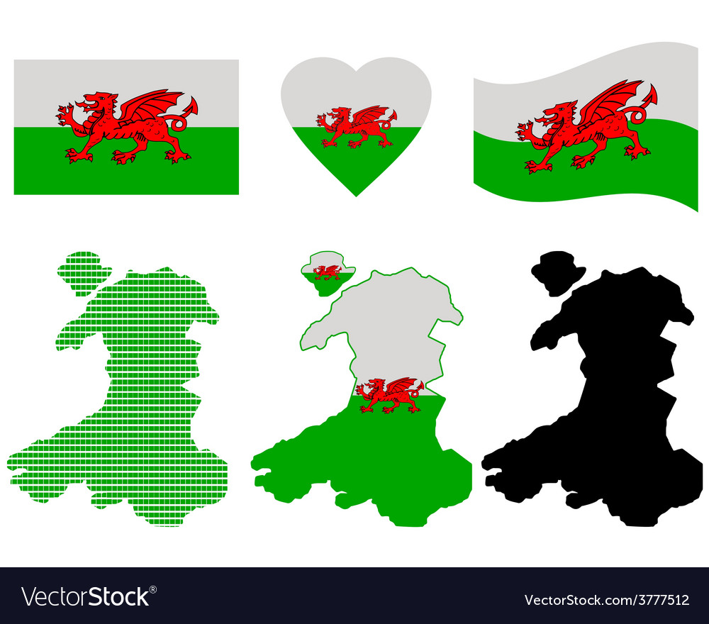 Map of wales vector | Price: 1 Credit (USD $1)