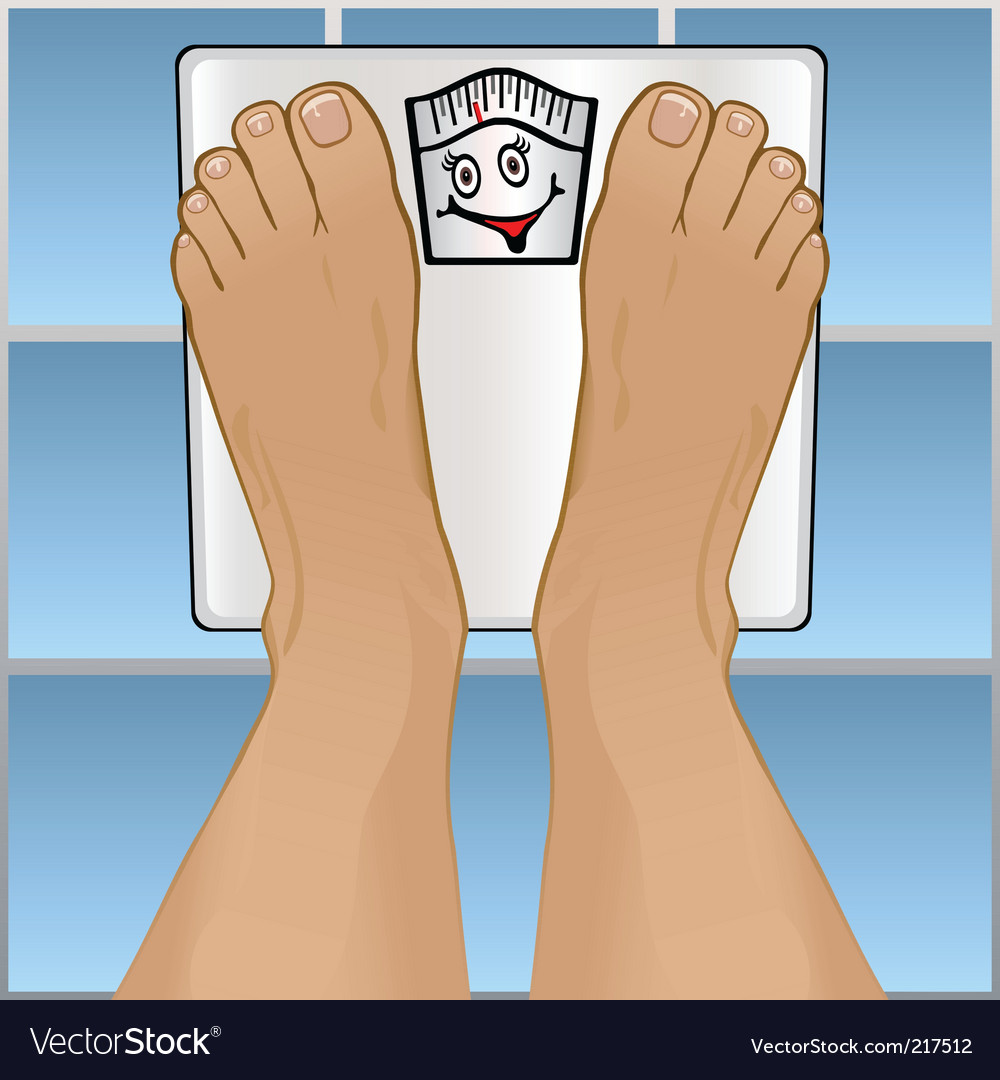 Persons feet on weighing scale vector | Price: 1 Credit (USD $1)